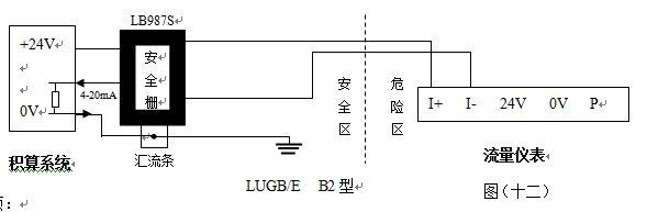 智能涡街流量计防爆型配线图二